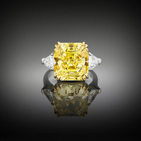 Estate Jewelry, Yellow Diamond Ring, Diamond Jewelry ~ M.S. Rau Antiques