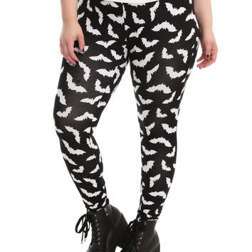 Blackheart Black & White Bat Leggings Plus Size