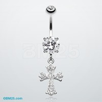Glistening Cross Tiffany Dangle Belly Button Ring