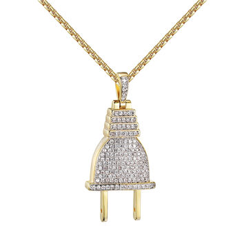 """Switch Plug Design Pendant Simulated Diamond Gold Over Sterling Silver 24"""" Chain"""