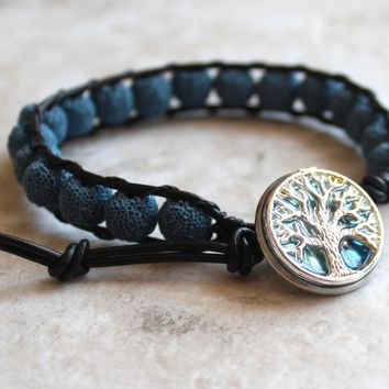 Blue lava bead tree of life bracelet