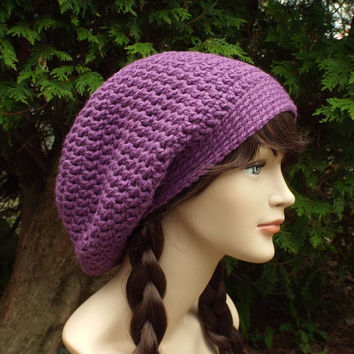 Purple Slouch Beanie - Womens Slouchy Crochet Hat - Chunky Hat - Ladies Oversized Cap - Baggy Beanie