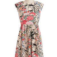 ModCloth Mid-length Cap Sleeves A-line Garden Marvels Dress in Sand