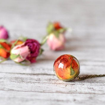 Real Rosebud Resin Sphere Pendant Necklace, Pressed Flower Resin Jewelry, Orange Rosebud Ball Pendant
