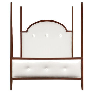 John Upholstered 4-Poster Bed, White, Four Poster Beds