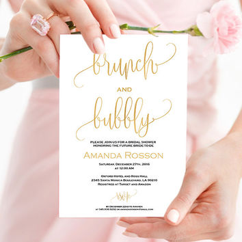 Gold Bridal Brunch Invitation Shower - Gold and White Bridal shower invitation - Wedding brunch invitation - Printable wedding #WDH0087