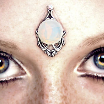 Dove Bindi, milky white, glass opal, silver setting, skin accessory, fantasy jewelry, tribal fusion bellydance, festival, fantasy costume
