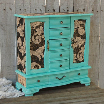 Jewelry Armoire, Shabby Chic, Jewelry Box, Tiffany Blue, Aqua, French, Large Jewelry Box. Decoupage, Upcycled