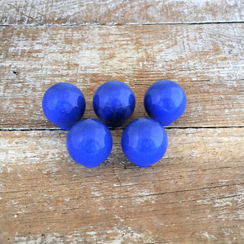 Drawer Knobs 5 Drawer Pulls Blue Ceramic Knobs Cabinet Doors Knobs Dresser Drawer Pulls Retro Ball Knobs Home Improvement