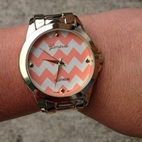 Chevron Gold Link Watch Coral