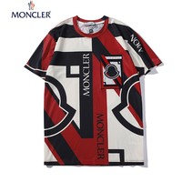 Moncler Popular Women Men Casual Print Round Collar T-Shirt Top