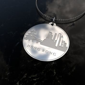 Hong Kong Skyline Sterling Silver Necklace