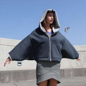 Gray Neoprene Jacket with Hood / Gray Neoprene Coat with Hood / Oversized Jacket / Bat Sleeve Jacket / Vegan Fashion / Winter  Fashion