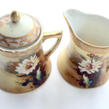 Vintage Antique Nippon Te-OH, Sugar and Creamer, 1910, Handpainted, Daisy, 22K gold,Moriage, Scenic,Brown,White, Green