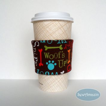 Woofs Up Coffee Cup Cozy, Cold Drink Wrap, reusable, eco-friendly
