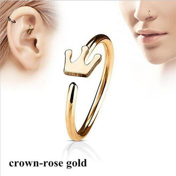 ac PEAPO2Q Fashion Crown Shape Hoop Simple Nose Ring Stainless Steel Body Piercing Jewelry