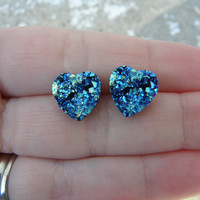 Earrings Druzy Stud Heart Earrings Boho Jewelry Metallic Blue