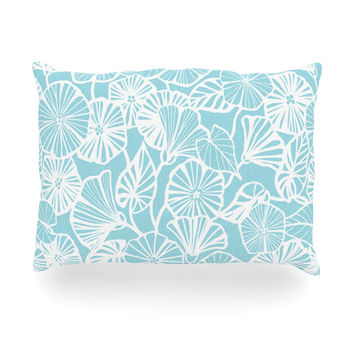 "Jacqueline Milton ""Vine Shadow - Aqua"" Blue Floral Oblong Pillow"