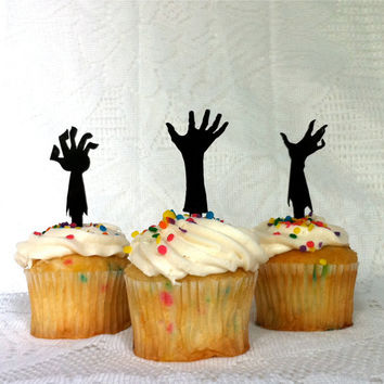 Zombie Apocalypse Cupcake Toppers Set of 3 Halloween Cupcake Topper Zombie Cupcake Toppers Silhouette Zombies Cake Toppers Zombie Party