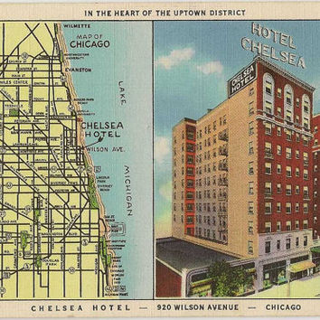 Illinois vintage linen postcard | Chicago map | Chelsea Hotel | Lake Michigan | city wall decor | 1930s retro art