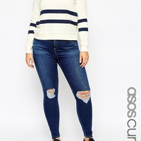 ASOS Curve | ASOS CURVE Ridley Skinny Jean in Brasswood Dark Wash with Rips at ASOS