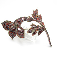 Victorian Garnet Brooch. Bohemian Garnet Flower Brooch. Antique Garnet Jewelry. January Birthstone