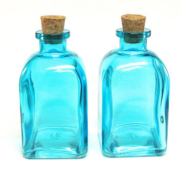 2 Roma Glass Bottles with Corks, 250ML 8.5 ounce, Aqua Blue Reed Diffuser Bottle, Terrarium, Bath Salt, Spices, Candy Jar, Glass Container