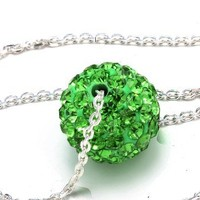 Green Color Crystals Ball Pendant