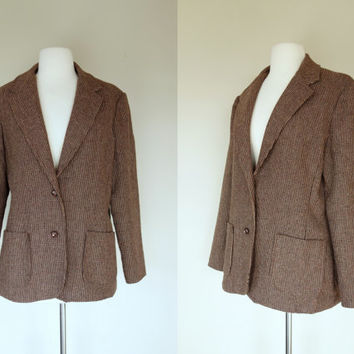 1970s brown blazer, wool blazer w/ square pockets, tweed jacket, Large, US 10