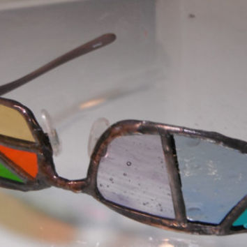Colored glasses - stained glass in wire eyeglass frames
