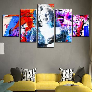 5 Pieces Beautiful Marilyn Monroe Actress Art Painting Pictures HD Printing