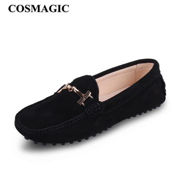New Bubuck Leather Women Flat 2017 Spring Metal Chains Driving Loafer Candy Color Soft Slip on Moccasin Boat Shoes Free Shipping