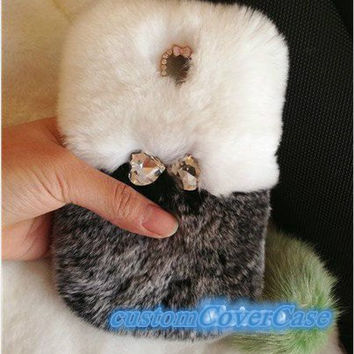 iPhone 5 Case, iPhone 4 Case, iPhone s Case furry iPhone 4s Case gray & white real rabbit fur iPhone Case rhinestone bow iPhone 5c case HTC