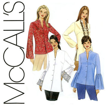 Tops and Tunics Pattern Uncut Bust 34 to 40 McCalls 4148 Kurtis Tunics, Bell Sleeve, Blouses, Shirts, Mandarin Collar Womens Sewing Patterns