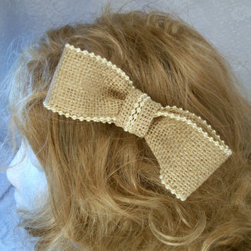 Burlap and pearls Wedding bow Toddler bow Adult burlap hair bow 5 inch hair bow on covered clip or french barrette