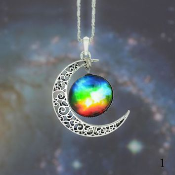 stars the moon time diamond necklace