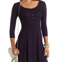 Ribbed Button-Front Dress by Charlotte Russe - Grape