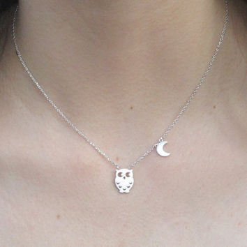 silver owl necklace with tiny moon charm