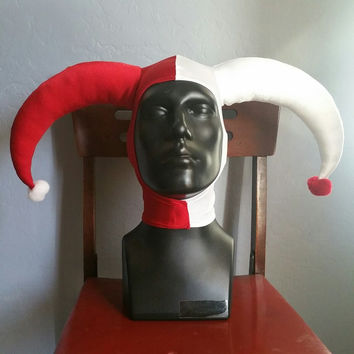 READY TO SHIP Red and White Harley Quinn Inspired Stretch Jester Hat