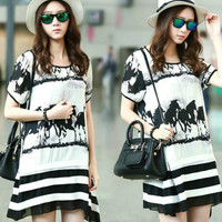 Horse Loose  MM Maternity Chiffon Dress