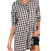Black And White Plaid Button Up Shirt - Small