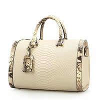 Snake Print Design Genuine Leather Tote Bag