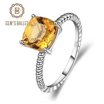 GEM'S BALLET Birthstone 2.60ct Round Natural Citrine Wedding Ring For Women 925 Sterling Silver Brand Classic Fine Jewelry