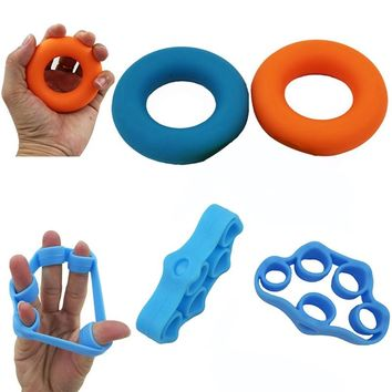 4Pcs Hand Grip Strengthener Trainer Rings Finger Resistance Bands Improving Dexterity Forearm Wrist Strength Injury Rehabilitation Stress Relief for Athletes Musicians and Artists