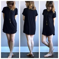 A Short Sleeve Roll Up Tunic in Black