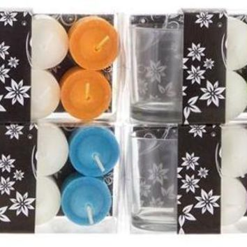 4-Piece Votive Candle with Glass Holder in Clear Box - Assorted - CASE OF 48