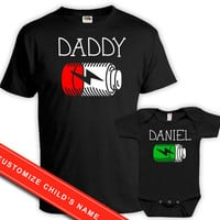 Matching Father And Baby Daddy And Me Clothing Father Son Shirts Dad And Daughter Gift Custom Name Battery Full Batt Low Bodysuit DN-615-616
