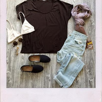 Distressed Tee- Brown