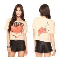 Fox Print Short Tank Tops Blouse8