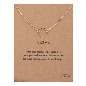 karma Double chain Circle necklace gold plated Pendant necklaces Fashion Clavicle Chains Statement Necklace Women Jewelry